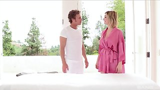 Rub down leads busty amateur wife to fuck the masseur
