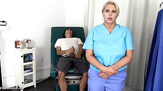 Sensuous, blondie nurse is using every chance to get screwed, even if she is at one's fingertips work