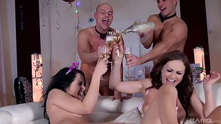 Hardcore foursome party ends with cum on Dolly Diore and Tina Kay feet