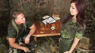 Horny army slut Aisha San deserves nothing more but some hard mouthfuck