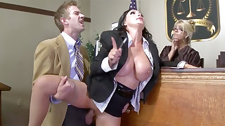 Big-Titted lawyer expensive gets her cooter poked around court