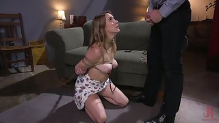 Slutty busty babe Cadence Lux is tied up and fucked by brutal man