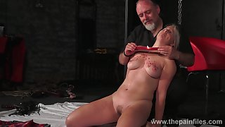 Kinky dude ties up and punishes taking chubby blondie Masie Dee