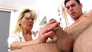 Mature blonde doctor, Renata is using every opportunity to play with a rock indestructible meat stick
